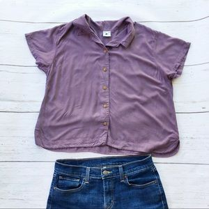Purple short sleeve boxy crop button front top